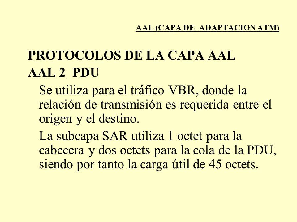 AAL (CAPA DE ADAPTACION ATM) PROTOCOLOS DE LA CAPA AAL AAL 2 PDU Se utiliza para el tráfico VBR, donde la relación de transmisión es requerida entre e