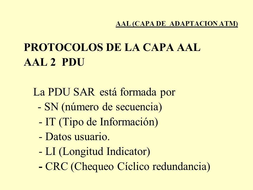 AAL (CAPA DE ADAPTACION ATM) PROTOCOLOS DE LA CAPA AAL AAL 2 PDU La PDU SARestá formada por - SN (número de secuencia) - IT (Tipo de Información) - Da
