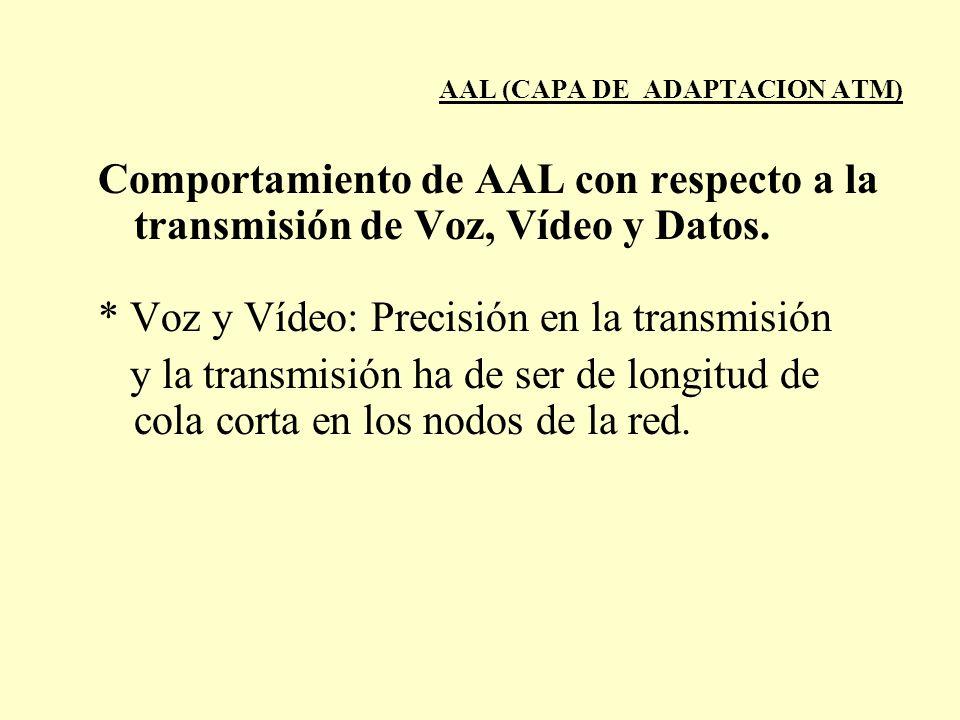 AAL (CAPA DE ADAPTACION ATM) Comportamiento de AAL con respecto a la transmisión de Voz, Vídeo y Datos. * Voz y Vídeo: Precisión en la transmisión y l