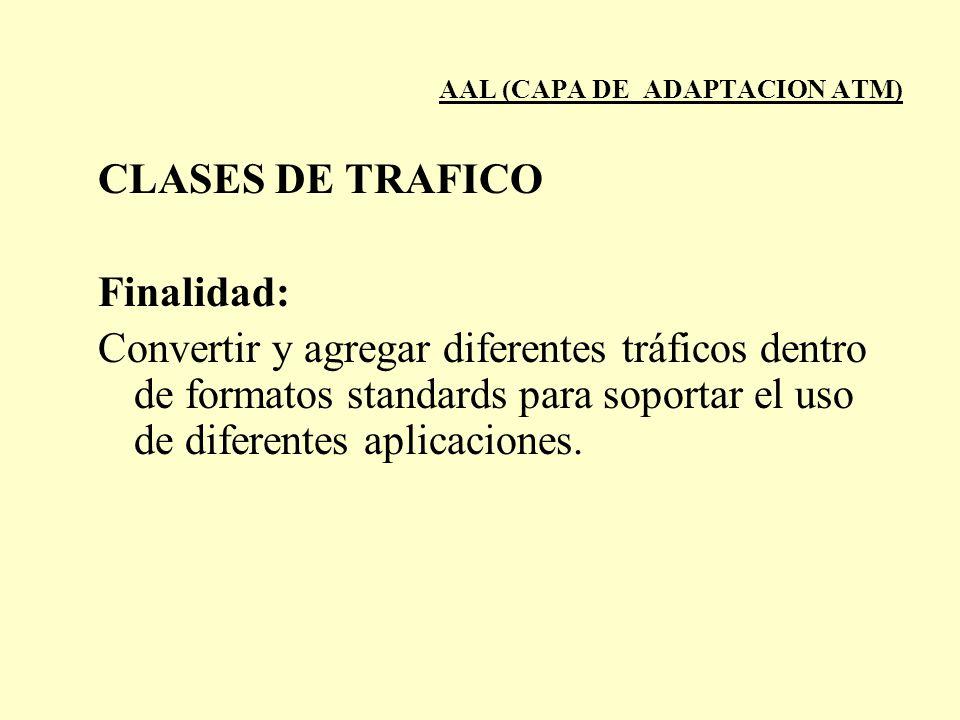AAL (CAPA DE ADAPTACION ATM) CLASES DE TRAFICO Finalidad: Convertir y agregar diferentes tráficos dentro de formatos standards para soportar el uso de