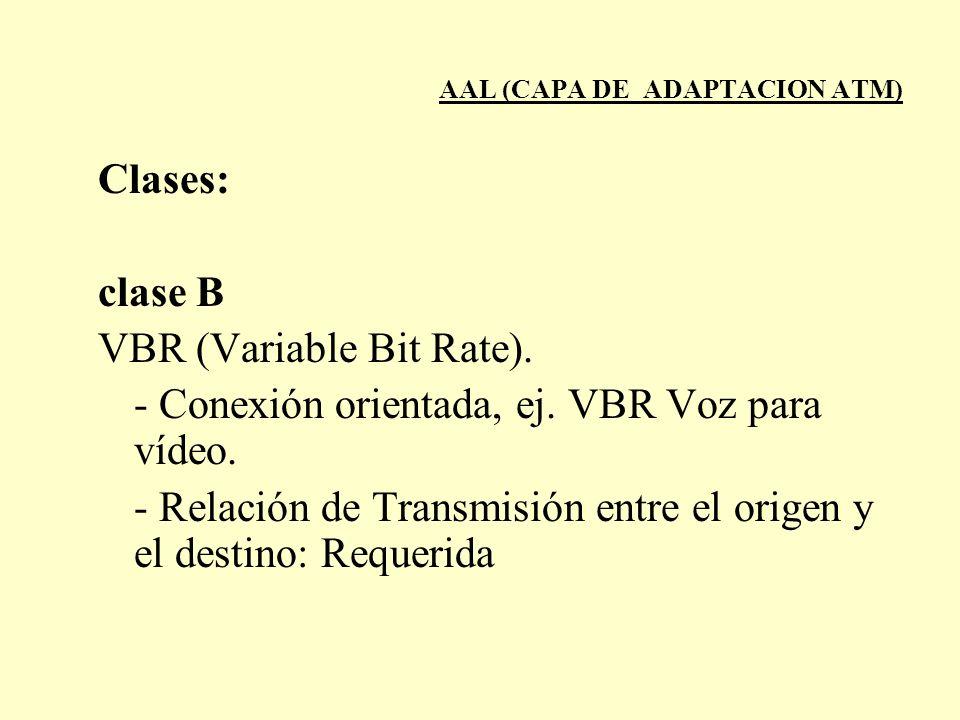 AAL (CAPA DE ADAPTACION ATM) Clases: clase B VBR (Variable Bit Rate). - Conexión orientada, ej. VBR Voz para vídeo. - Relación de Transmisión entre el