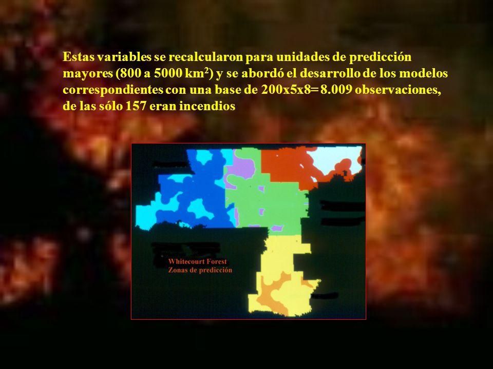Estas variables se recalcularon para unidades de predicción mayores (800 a 5000 km 2 ) y se abordó el desarrollo de los modelos correspondientes con u