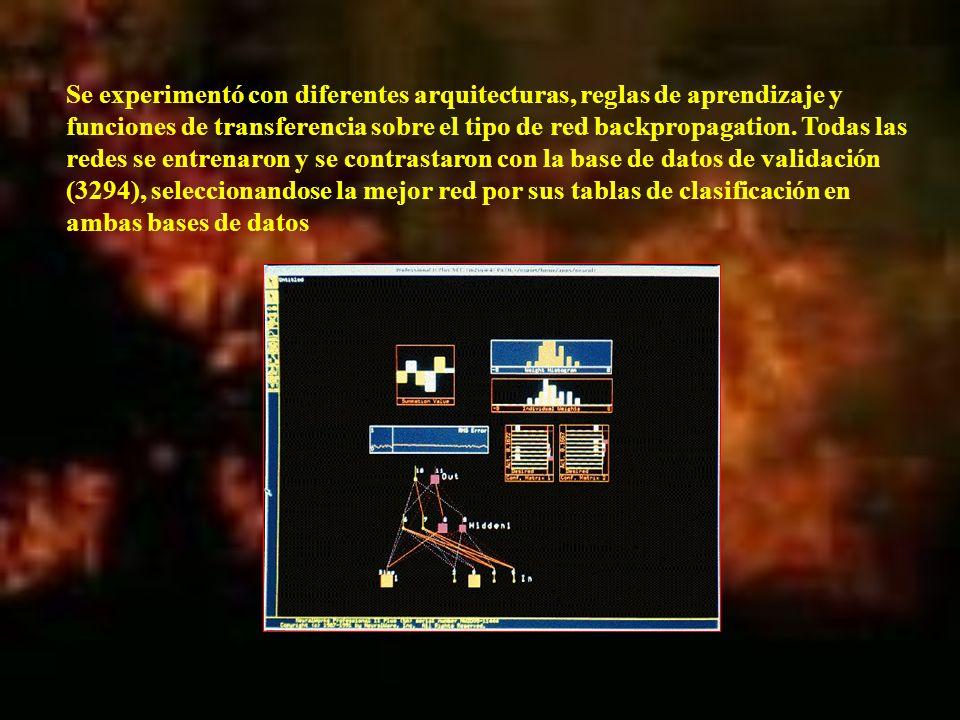 Se experimentó con diferentes arquitecturas, reglas de aprendizaje y funciones de transferencia sobre el tipo de red backpropagation. Todas las redes