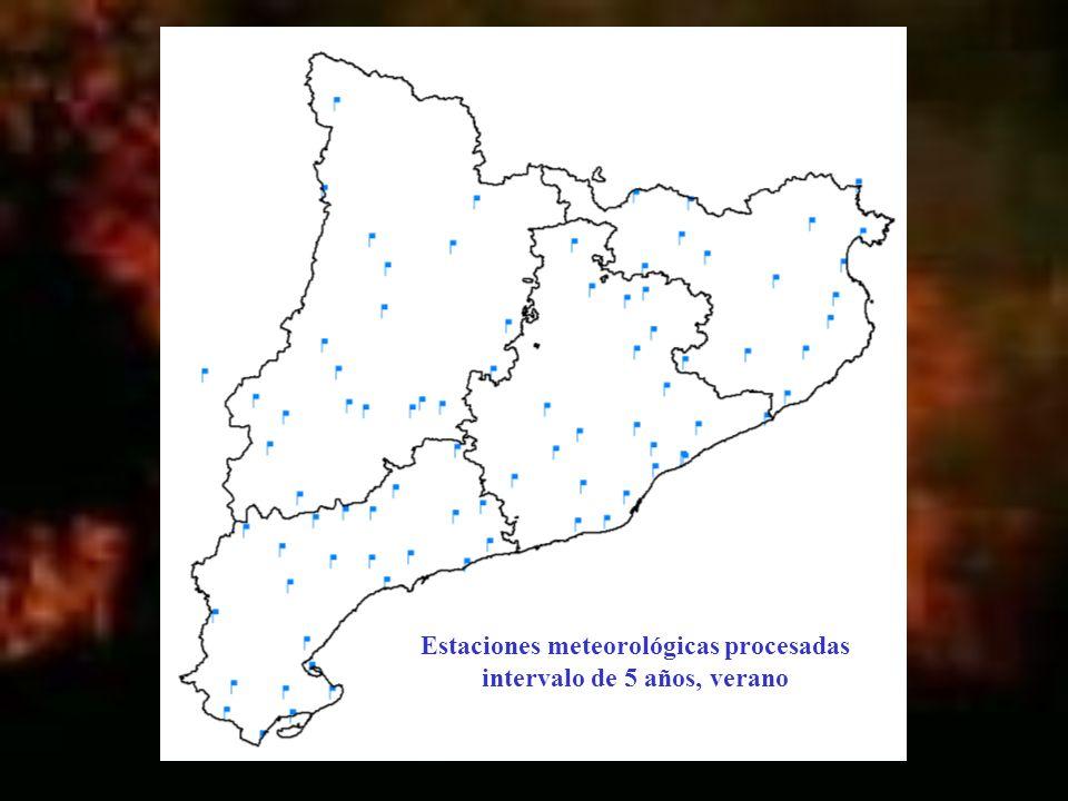 Estaciones meteorológicas procesadas intervalo de 5 años, verano