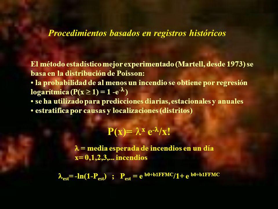 Estas variables se recalcularon para unidades de predicción mayores (800 a 5000 km 2 ) y se abordó el desarrollo de los modelos correspondientes con una base de 200x5x8= 8.009 observaciones, de las sólo 157 eran incendios