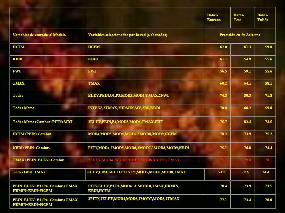 Todas GIS+ TMAXELEV,LINELECFI,PEIN,P3,MOD5,MOD6,MOD8,TMAX74.879.674.4 Datos- Entrena Datos- Test Datos- Valida Variables de entrada al ModeloVariables