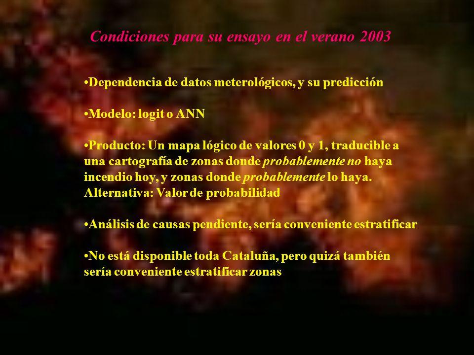 Condiciones para su ensayo en el verano 2003 Dependencia de datos meterológicos, y su predicción Modelo: logit o ANN Producto: Un mapa lógico de valor