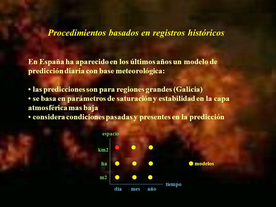 Los modelos estadísticos no recogen picos ni situaciones excepcionales Todos dependen de variables meteorológicas No pueden considerar variaciones espaciales ni actividades salvo en modelos o ecuaciones diferentes Esto ha llevado al desarrollo de modelos que abarcan periodos de tiempo mayores pero son espacialmente precisos, gracias a los SIG Procedimientos basados en registros históricos tiempo espacio diamesaño m2 ha km2 modelos