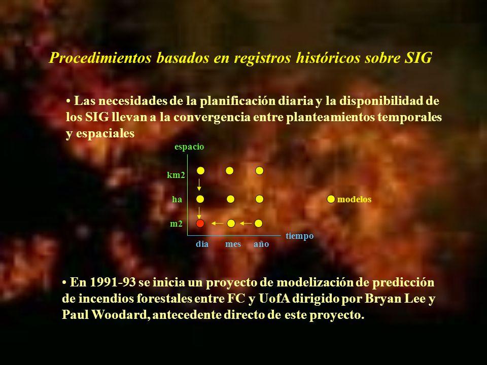 Este estudio pretendía predecir incendios por causas humanas diariamente en un área forestal a partir de variables tanto temporales como espaciales o geográficas La hipótesis de trabajo era que la localización y número de actividades que podían conducir al incendio dependían en todo momento del estado del medio forestal Se pretendía comprobar la adecuación (picos) de una serie de nuevas técnicas a la predicción, las redes neuronales, en relación a los análisis estadísticos tradicionales, siendo los modelos basados en la regresión logit/logarítmica los que más se habían utilizado
