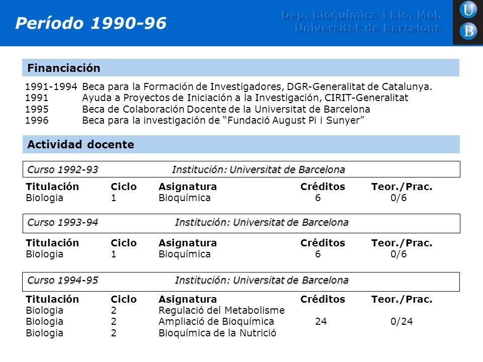 1991-1994Beca para la Formación de Investigadores, DGR-Generalitat de Catalunya. 1991 Ayuda a Proyectos de Iniciación a la Investigación, CIRIT-Genera