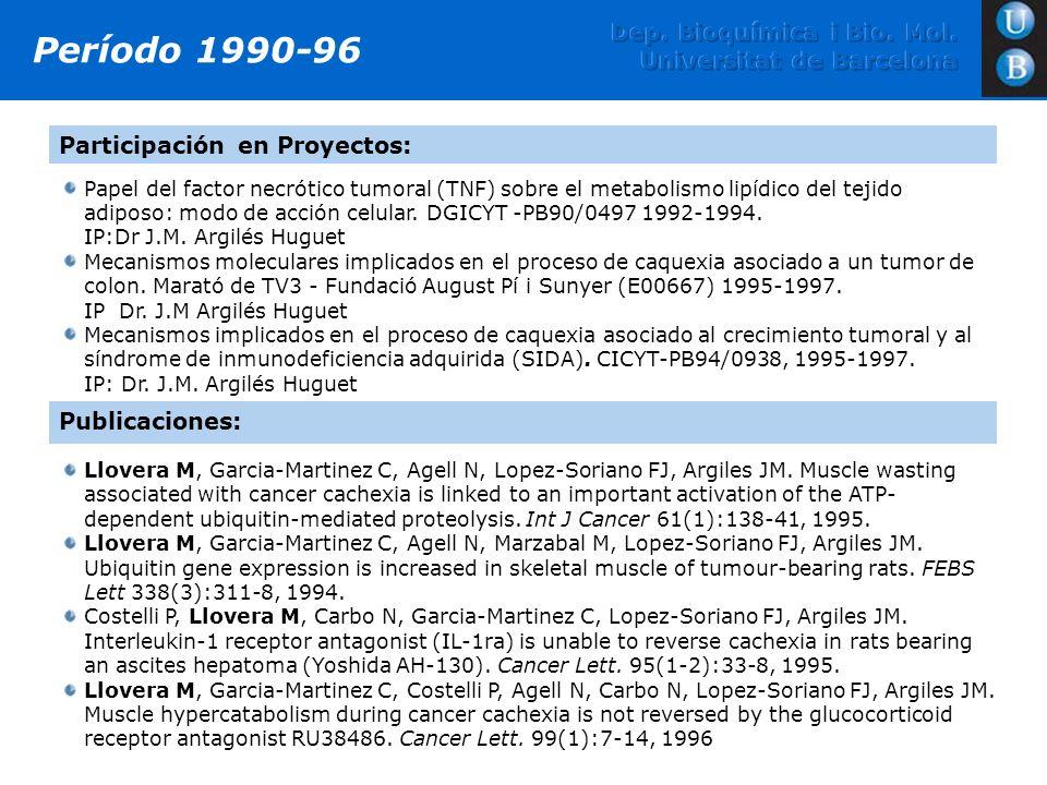 Papel del factor necrótico tumoral (TNF) sobre el metabolismo lipídico del tejido adiposo: modo de acción celular. DGICYT -PB90/0497 1992-1994. IP:Dr