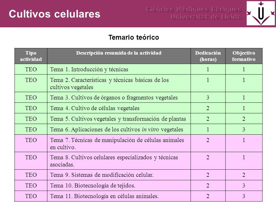 Tipo actividad Descripción resumida de la actividadDedicación (horas) Objectivo formativo TEOTema 1. Introducción y técnicas11 TEOTema 2. Característi