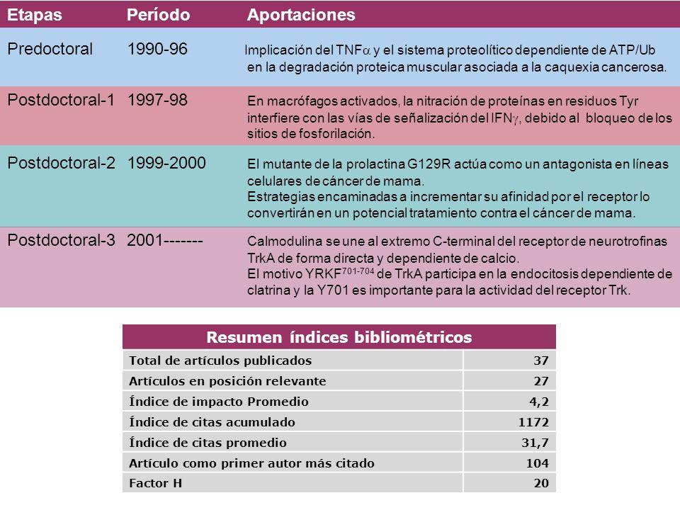 Resumen índices bibliométricos Total de artículos publicados37 Artículos en posición relevante27 Índice de impacto Promedio4,2 Índice de citas acumula