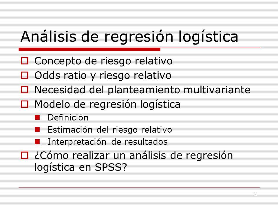 43 Modelos con variables cualitativas y cuantitativas En un mismo modelo de regresión logística podemos mezclar variables cualitativas (nominales u ordinales) y variables cuantitativas La codificación de variables cualitativas debe hacerse con cuidado para facilitar la interpretación de resultados En las variables cualitativas debemos escoger una categoría de referencia para el cálculo de odds ratios.