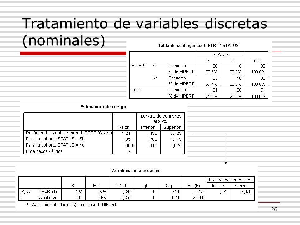 26 Tratamiento de variables discretas (nominales)