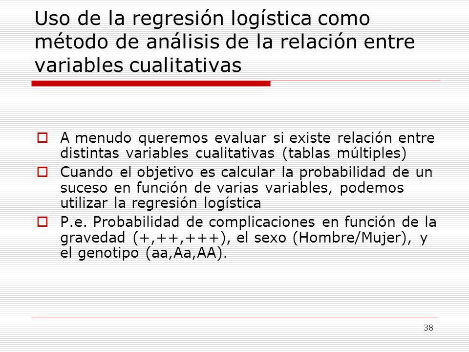 38 Uso de la regresión logística como método de análisis de la relación entre variables cualitativas A menudo queremos evaluar si existe relación entr
