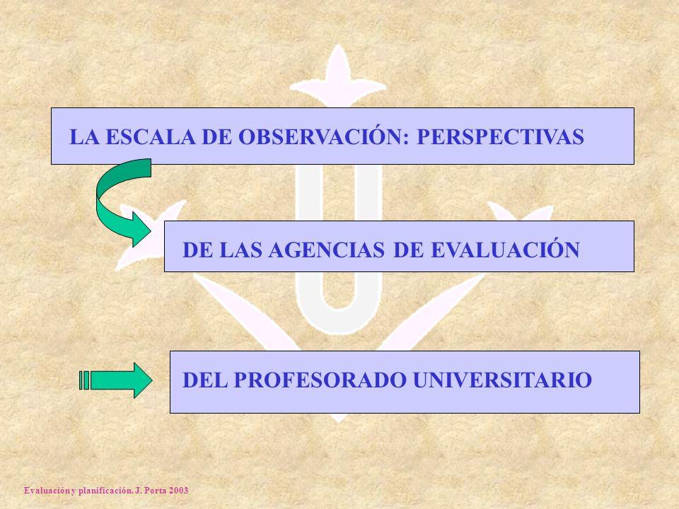 Evaluación y planificación. J. Porta 2003 LA ESCALA DE OBSERVACIÓN: PERSPECTIVAS DE LAS AGENCIAS DE EVALUACIÓN DEL PROFESORADO UNIVERSITARIO