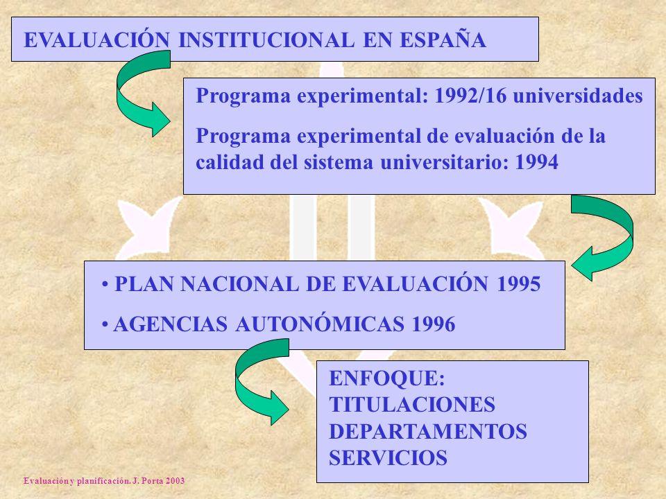 Evaluación y planificación. J. Porta 2003 EVALUACIÓN INSTITUCIONAL EN ESPAÑA Programa experimental: 1992/16 universidades Programa experimental de eva