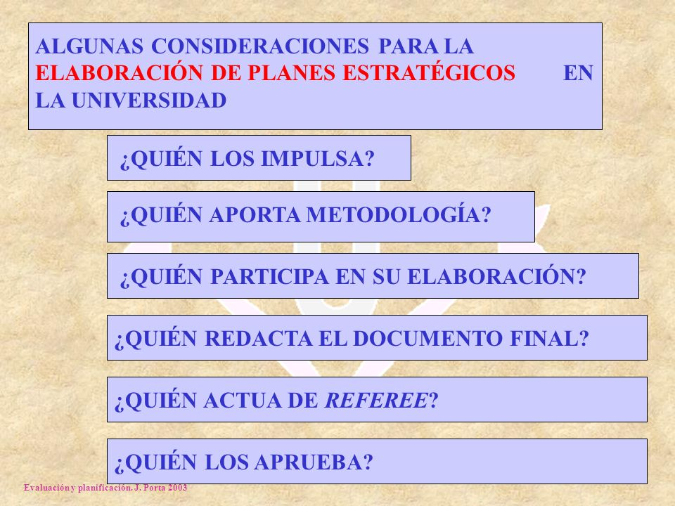 Evaluación y planificación. J. Porta 2003 ALGUNAS CONSIDERACIONES PARA LA ELABORACIÓN DE PLANES ESTRATÉGICOS EN LA UNIVERSIDAD ¿QUIÉN LOS IMPULSA?¿QUI