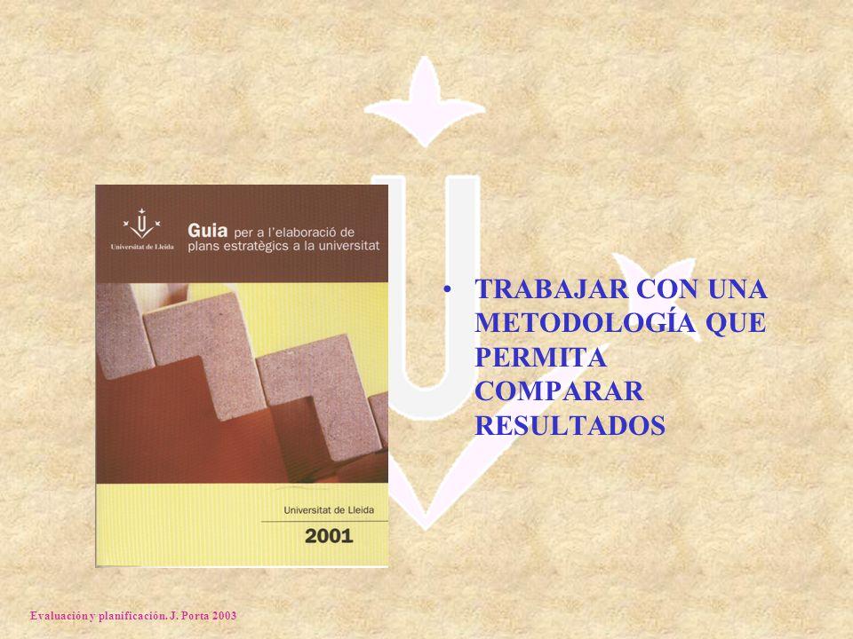 Evaluación y planificación. J. Porta 2003 TRABAJAR CON UNA METODOLOGÍA QUE PERMITA COMPARAR RESULTADOS
