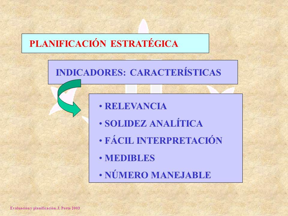 Evaluación y planificación. J. Porta 2003 PLANIFICACIÓN ESTRATÉGICA INDICADORES: CARACTERÍSTICAS RELEVANCIA SOLIDEZ ANALÍTICA FÁCIL INTERPRETACIÓN MED