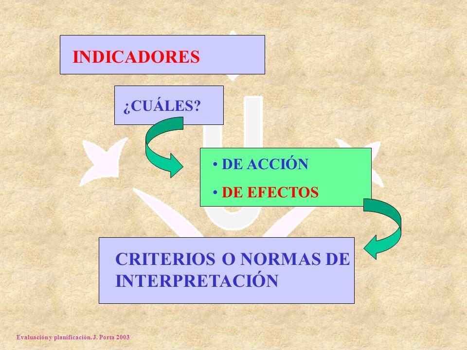 Evaluación y planificación. J. Porta 2003 INDICADORES ¿CUÁLES? DE ACCIÓN DE EFECTOS CRITERIOS O NORMAS DE INTERPRETACIÓN