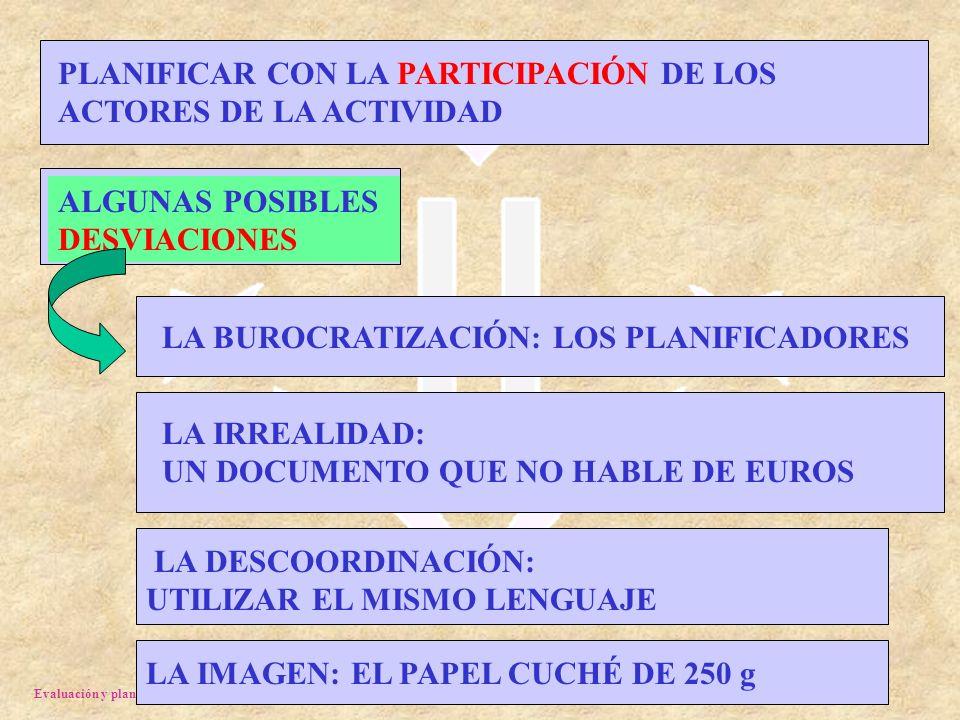 Evaluación y planificación. J. Porta 2003 LA IMAGEN: EL PAPEL CUCHÉ DE 250 g PLANIFICAR CON LA PARTICIPACIÓN DE LOS ACTORES DE LA ACTIVIDAD ALGUNAS PO