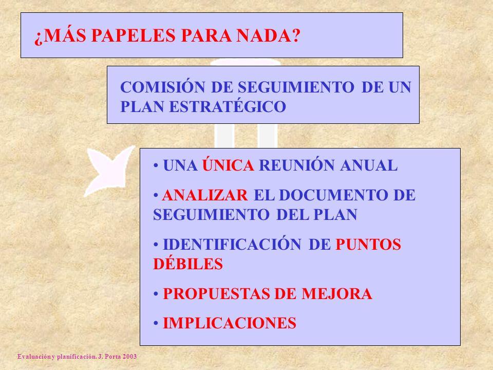 Evaluación y planificación. J. Porta 2003 ¿MÁS PAPELES PARA NADA.