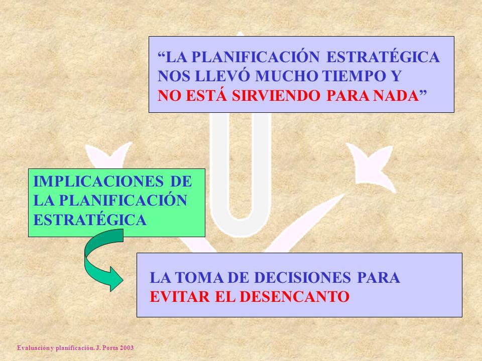 Evaluación y planificación. J. Porta 2003 LA PLANIFICACIÓN ESTRATÉGICA NOS LLEVÓ MUCHO TIEMPO Y NO ESTÁ SIRVIENDO PARA NADA IMPLICACIONES DE LA PLANIF