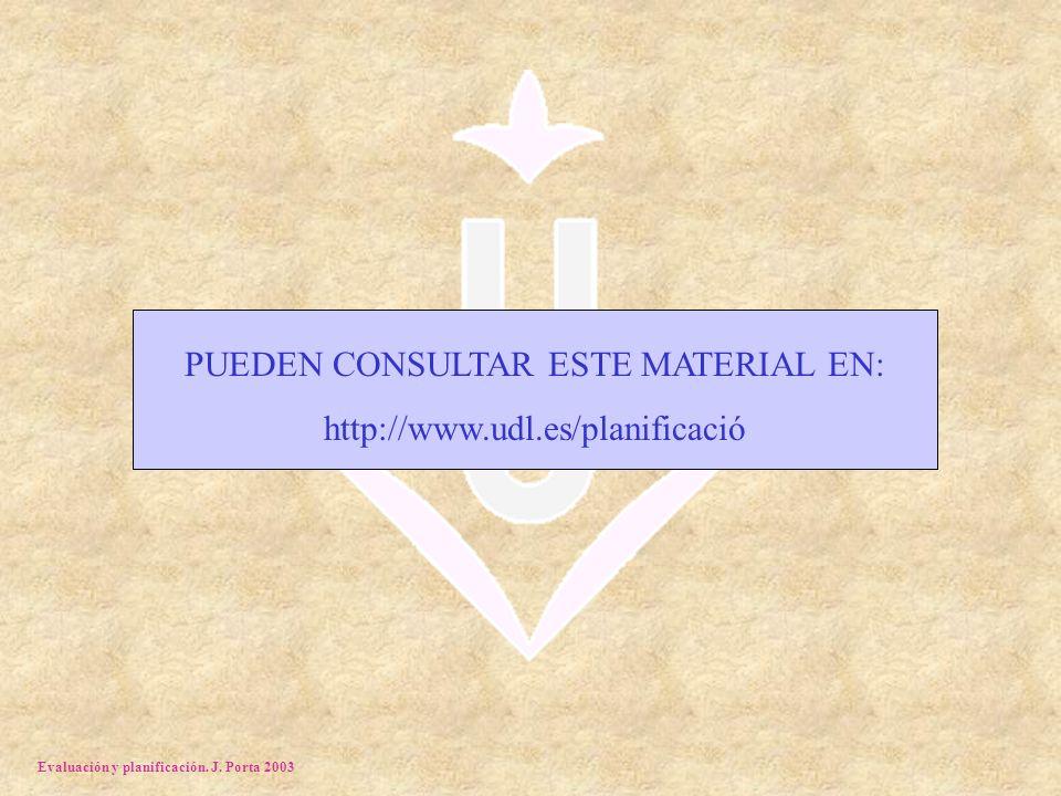 Evaluación y planificación. J. Porta 2003 PUEDEN CONSULTAR ESTE MATERIAL EN: http://www.udl.es/planificació