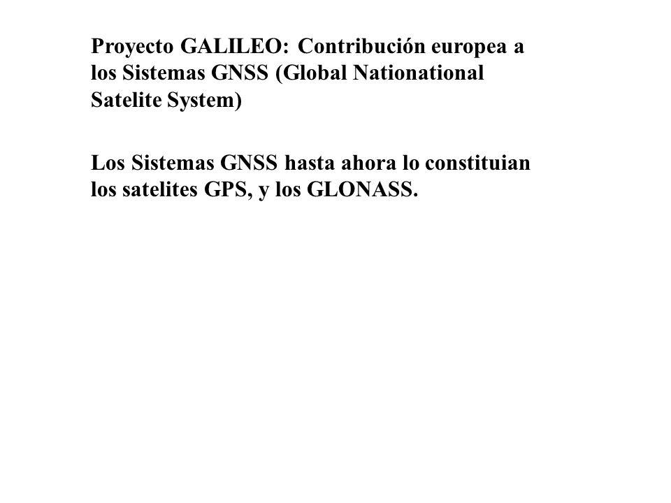 Proyecto GALILEO: Contribución europea a los Sistemas GNSS (Global Nationational Satelite System) Los Sistemas GNSS hasta ahora lo constituian los sat