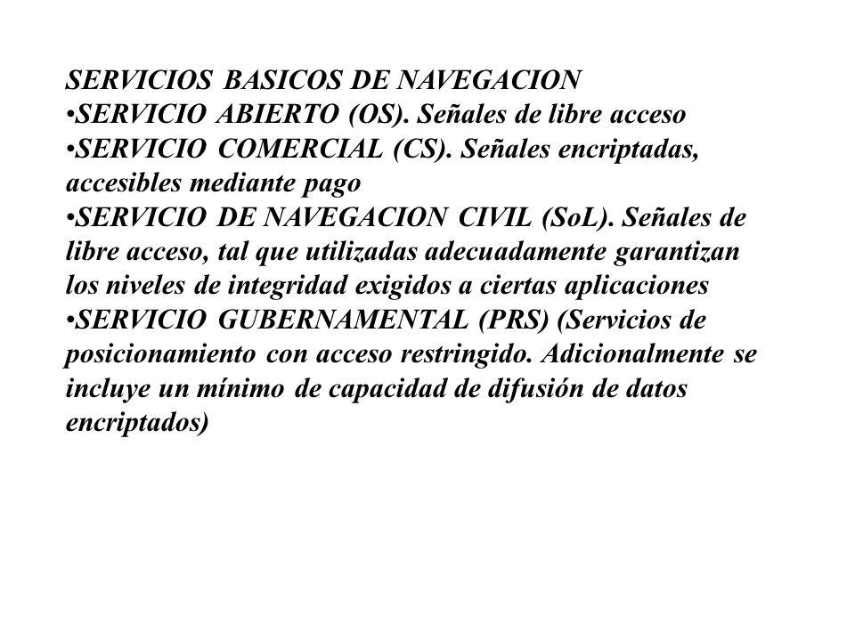 SERVICIOS BASICOS DE NAVEGACIONSERVICIO ABIERTO (OS). Señales de libre accesoSERVICIO COMERCIAL (CS). Señales encriptadas, accesibles mediante pagoSER