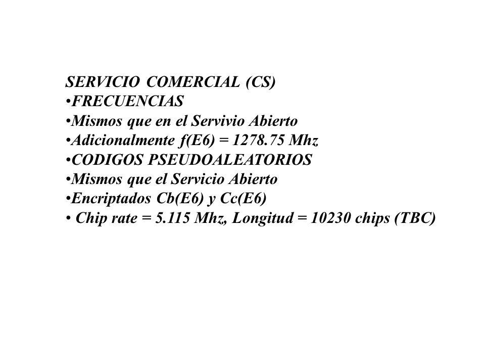 SERVICIO COMERCIAL (CS)FRECUENCIASMismos que en el Servivio AbiertoAdicionalmente f(E6) = 1278.75 MhzCODIGOS PSEUDOALEATORIOSMismos que el Servicio Ab