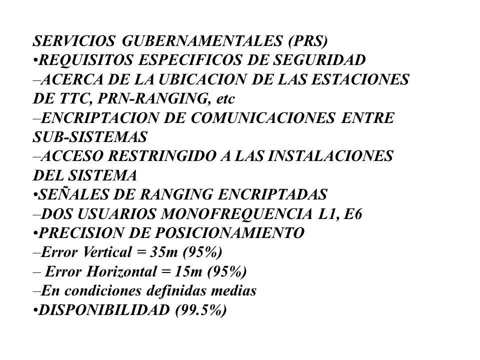 SERVICIOS GUBERNAMENTALES (PRS)REQUISITOS ESPECIFICOS DE SEGURIDAD –ACERCA DE LA UBICACION DE LAS ESTACIONES DE TTC, PRN-RANGING, etc –ENCRIPTACION DE
