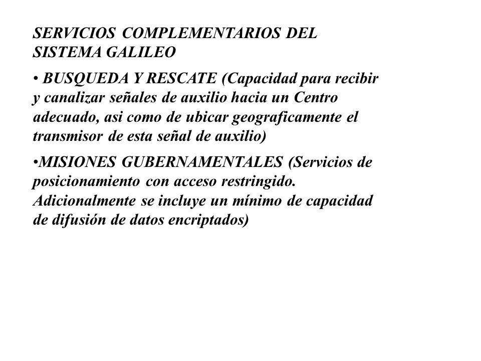 SERVICIOS COMPLEMENTARIOS DEL SISTEMA GALILEO BUSQUEDA Y RESCATE (Capacidad para recibir y canalizar señales de auxilio hacia un Centro adecuado, asi