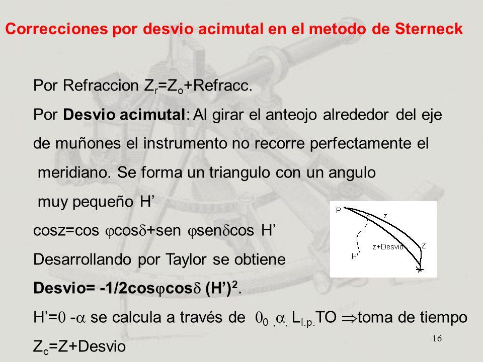 16 Por Refraccion Z r =Z o +Refracc. Por Desvio acimutal: Al girar el anteojo alrededor del eje de muñones el instrumento no recorre perfectamente el