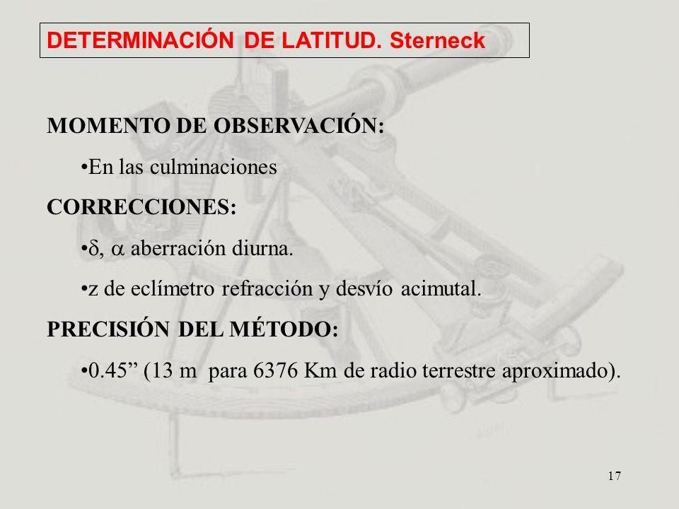 17 DETERMINACIÓN DE LATITUD. Sterneck MOMENTO DE OBSERVACIÓN: En las culminaciones CORRECCIONES:, aberración diurna. z de eclímetro refracción y desví
