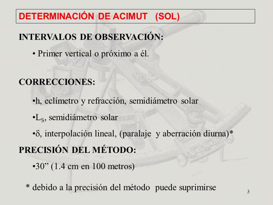 3 INTERVALOS DE OBSERVACIÓN: Primer vertical o próximo a él. CORRECCIONES: h, eclímetro y refracción, semidiámetro solar L S, semidiámetro solar, inte