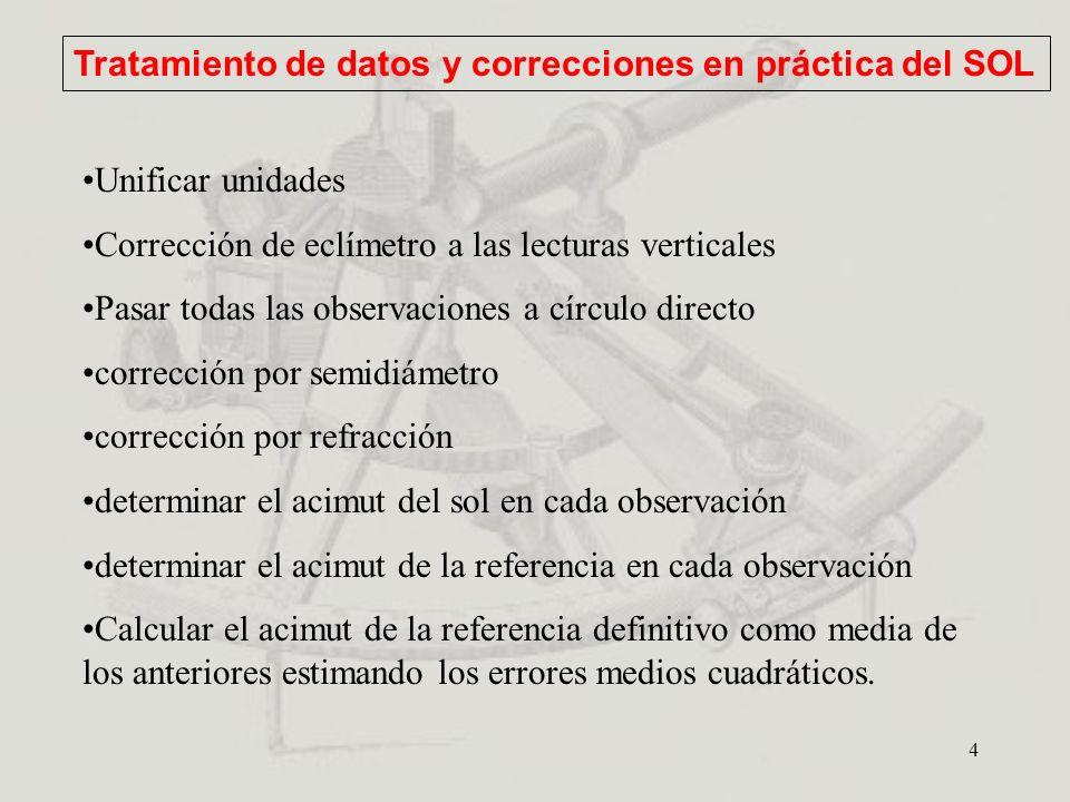 4 Tratamiento de datos y correcciones en práctica del SOL Unificar unidades Corrección de eclímetro a las lecturas verticales Pasar todas las observac