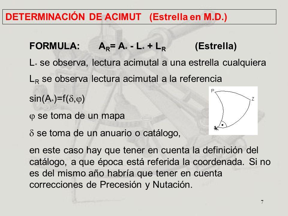 7 FORMULA: A R = A * - L * + L R (Estrella) L * se observa, lectura acimutal a una estrella cualquiera L R se observa lectura acimutal a la referencia