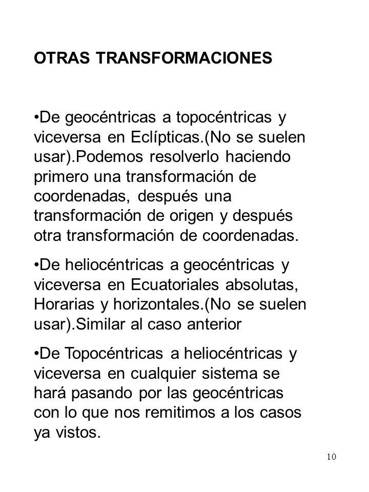 10 OTRAS TRANSFORMACIONES De geocéntricas a topocéntricas y viceversa en Eclípticas.(No se suelen usar).Podemos resolverlo haciendo primero una transf