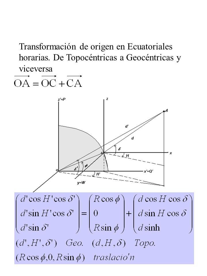 4 Transformación de origen en Ecuatoriales horarias. De Topocéntricas a Geocéntricas y viceversa geocéntricas=posición de C + topocéntricas