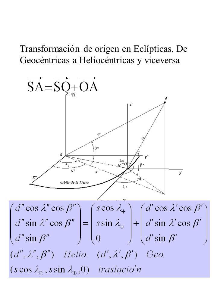 6 Transformación de origen en Eclípticas. De Geocéntricas a Heliocéntricas y viceversa helioéntricas=posición de O + geocéntricas se denomina Correcci