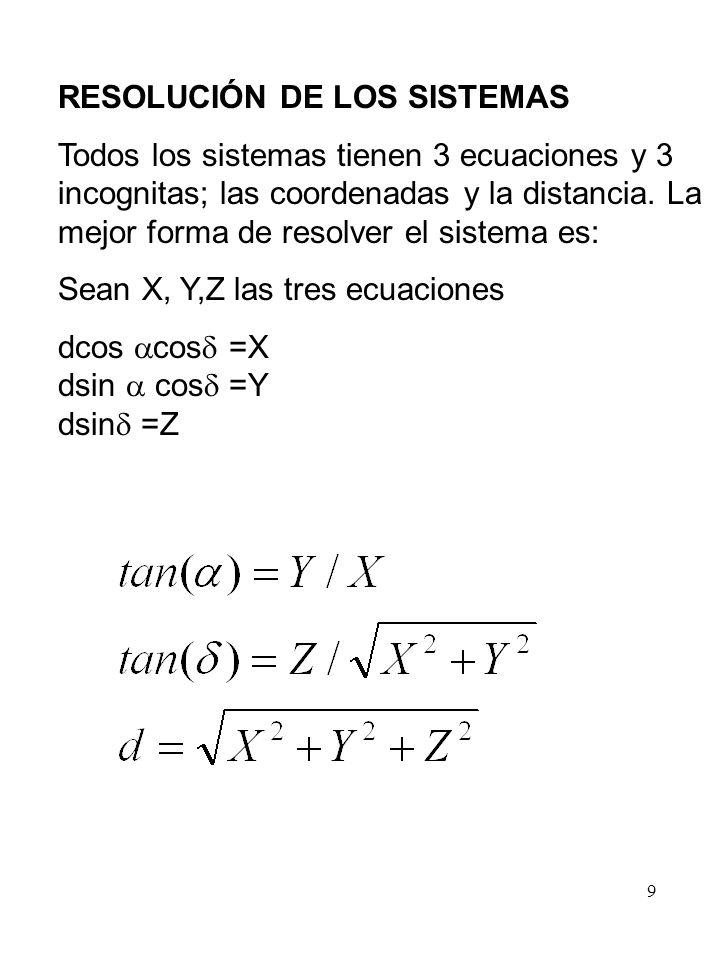 9 RESOLUCIÓN DE LOS SISTEMAS Todos los sistemas tienen 3 ecuaciones y 3 incognitas; las coordenadas y la distancia. La mejor forma de resolver el sist