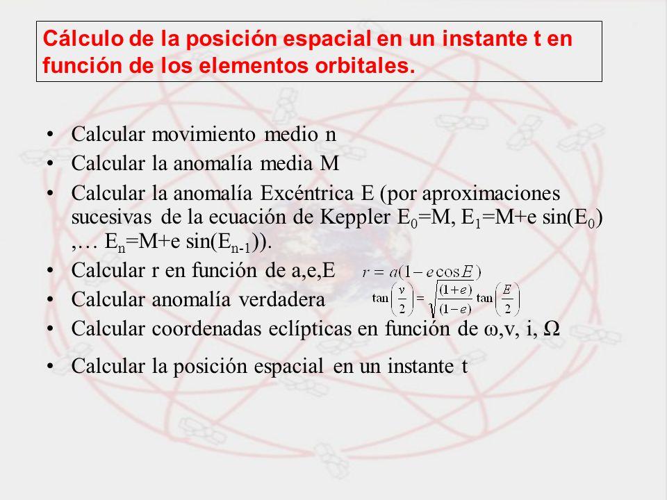 Cálculo de la posición espacial en un instante t en función de los elementos orbitales. Calcular movimiento medio n Calcular la anomalía media M Calcu