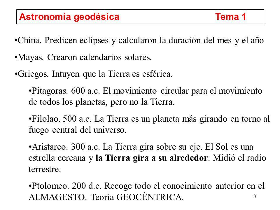 4 Astronomía geodésicaTema 1 Arabes.820 d.c.Traducen a Ptolomeo y sus observaciones apuntan al cambio.