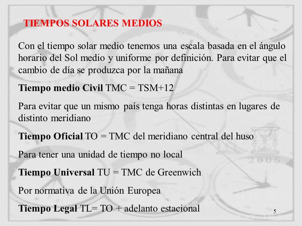 6 RELACIONES ENTRE LAS ESCALAS DE TIEMPO ASTRONÓMICO V - m =EE (ecuación de los equinoccios) TSV-TSM=ET (Ecuación del tiempo) TMC=TSM+12 TO=TMC DEL MERIDIANO CENTRAL DEL HUSO TL=TO+Adelanto estacional TIEMPO EN UN LUGAR=TIEMPO EN GREMWEECH LONGITUD (El + si el lugar está al E y el - al Oeste) TO=TU nº de huso TMC=TU longitud