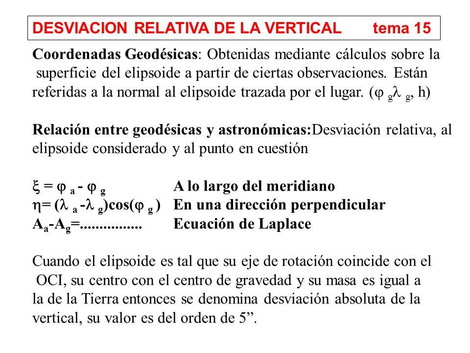 DESVIACION RELATIVA DE LA VERTICAL tema 15 Coordenadas Geodésicas: Obtenidas mediante cálculos sobre la superficie del elipsoide a partir de ciertas observaciones.