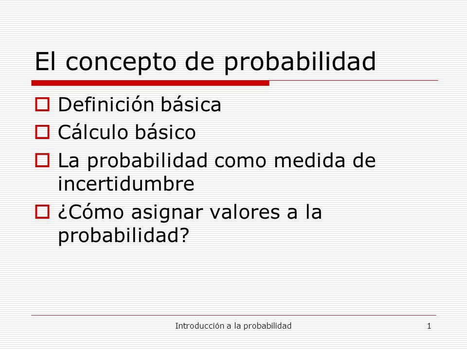 Introducción a la probabilidad1 El concepto de probabilidad Definición básica Cálculo básico La probabilidad como medida de incertidumbre ¿Cómo asigna