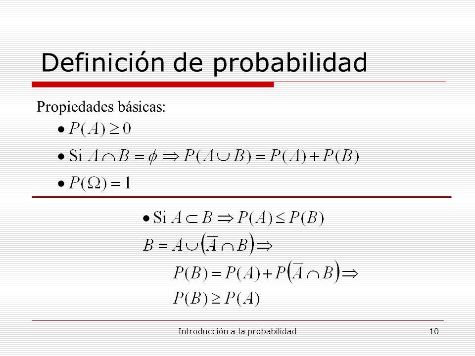 Introducción a la probabilidad10 Definición de probabilidad Propiedades básicas: